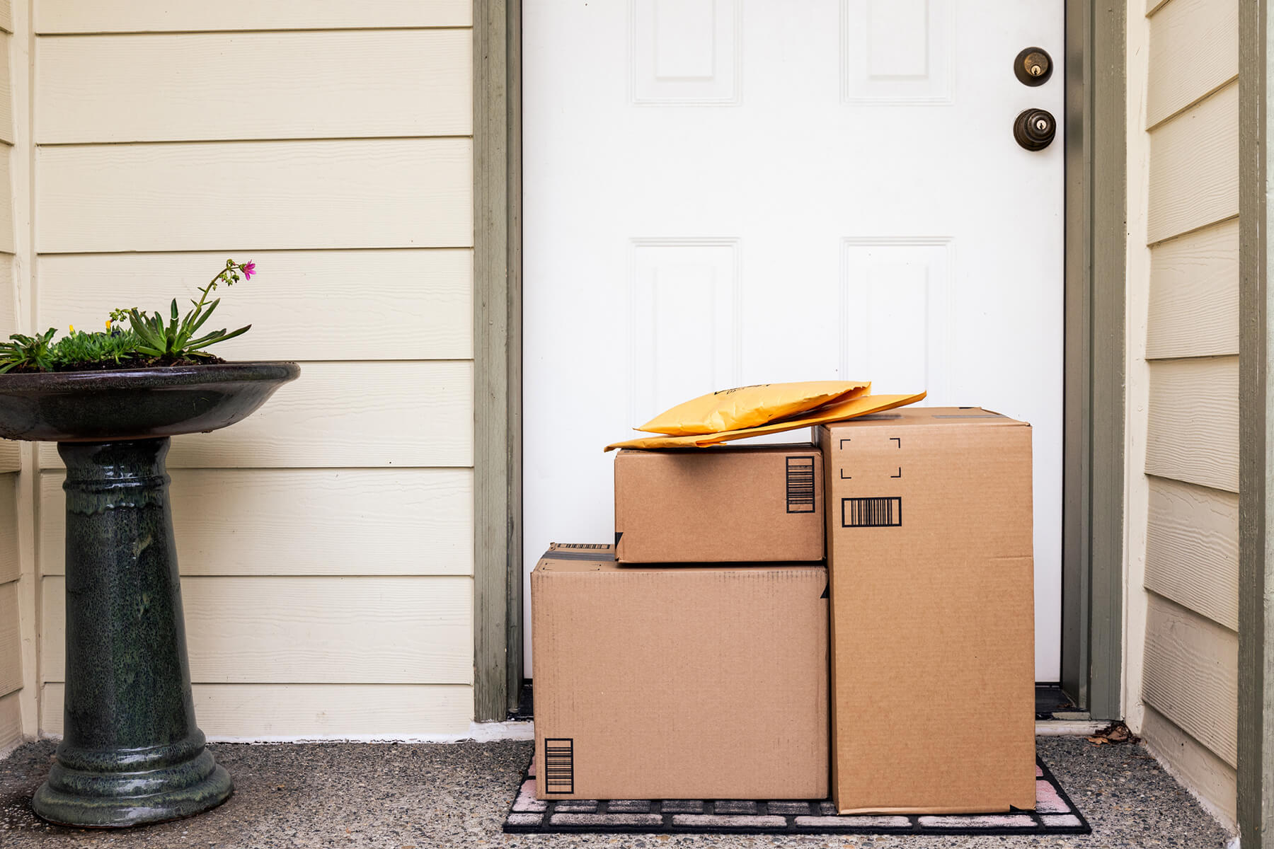 Boxes sitting unattended on a front porch